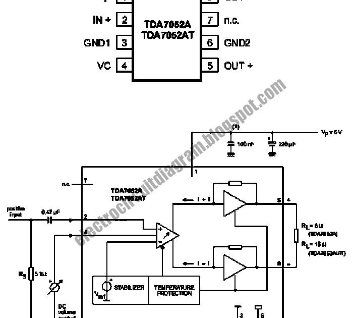 electro circuit diagram  btl mono amplifier with dc volume control circuit