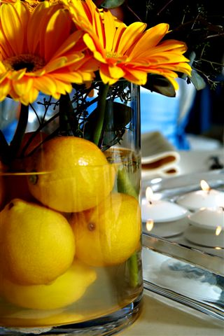 My number one fruit choice for centerpieces are lemons I love the vibrancy