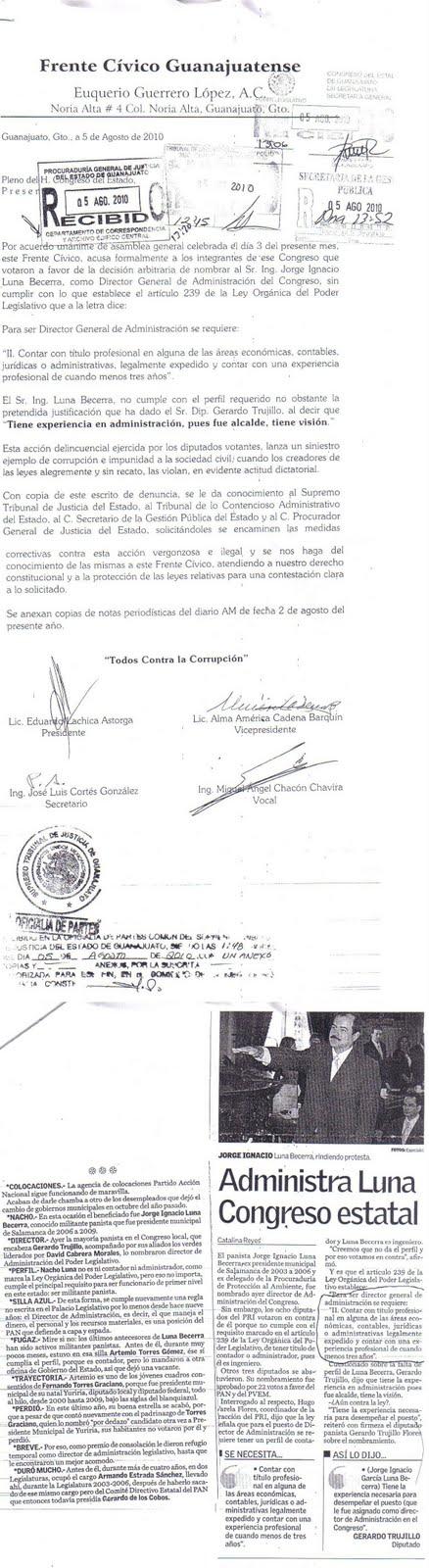 Luna Becerra Director General de Administración Nicéforo Guerrero Reynoso Guanajuato Frente Cívico
