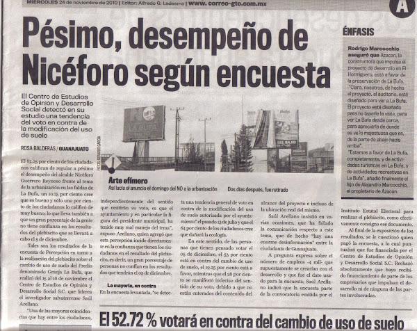 Pésimo desempeño  de Nicéforo Guerrero Reynoso presidente Municipal de Guanajuato