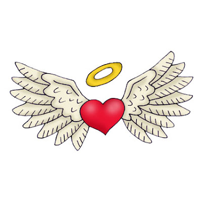 small angel wings tattoo combinated whit heart and tattoo script on chest