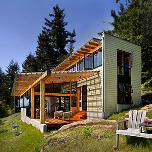 The Cabin Is Set On The Edge Of The Wood At A Natural Clearing And Outlook  To The South Across East Sound, Lopez Island And The Olympic Mountain Range.