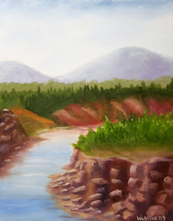 River with Rocky Cliffs Painting  - Daily Painting Blog - Original Oil and Acrylic Artwork by Artist Mark Webster