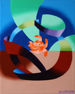 Futurist Goldfish Bowl Painting - Daily Painting Blog Original Oil and Acrylic by Artist Mark Webster
