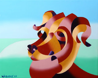 Daily Painters, Daily Paintings, Futurist Abstract Dog Painting - Daily Painting Blog - Original Oil and Acrylic by Artist Mark Webster