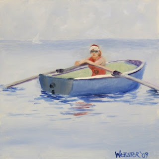 Daily Painters, Daily Paintings, Rower in Lake Michigan Painting - Daily Painting Blog - Original Oil and Acrylic Artwork by Artist Mark Webster