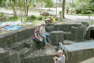 The First Part Of Building Artificial Rocks Is To Create The Basic Shape.  You Do That By Driving Rebar Into The Earth And Then Using A Bending Tool  To ...