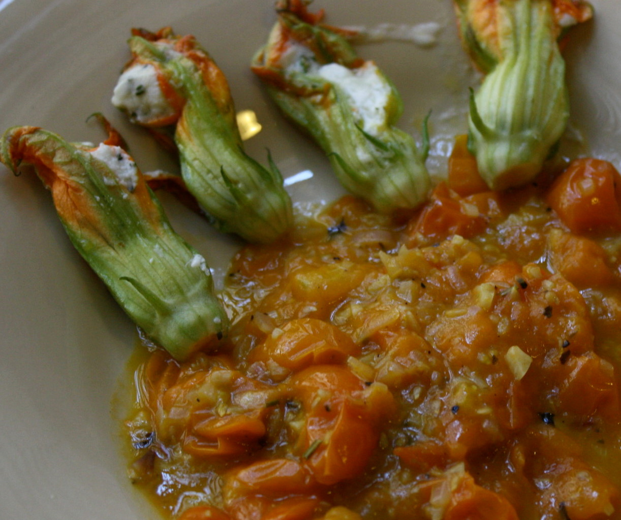 Cheese Stuffed Squash Blossoms With Cherry Tomato Sauce | The ...