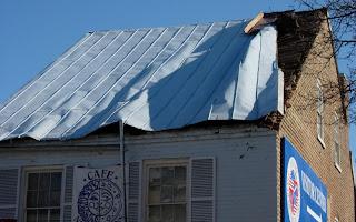 Roof Damage at the Cafe New Orleans, Fredericksburg, VA