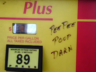 Gas Pump Graffiti - 'pee pee poop darn' by price per gallon