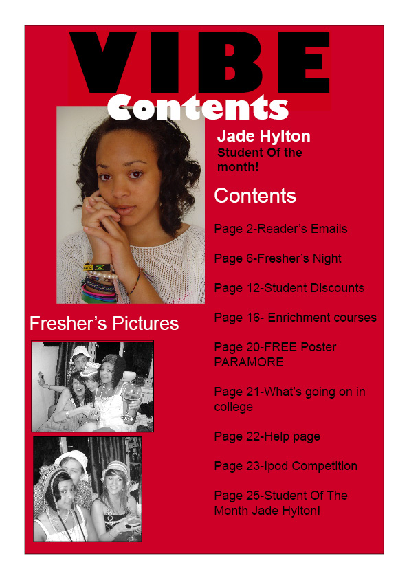 This is my contents page for Vibe magazine. I decided to keep the same