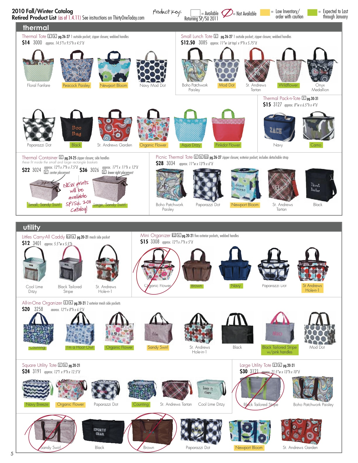 Personalized Bags Totes And Gifts 2010 Retired Products Change To Thermal Tote Event Order Date
