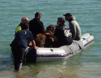 Robin Leonberg en sauvetage aquatique, suivi de bateau