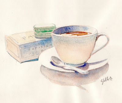 Macaron watercolor - Parisbreakfasts
