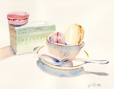 Laduree box with three macarons - ParisBreakfasts