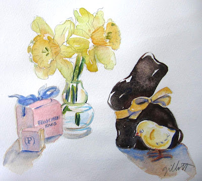 Chocolate Bunny with Daffodils