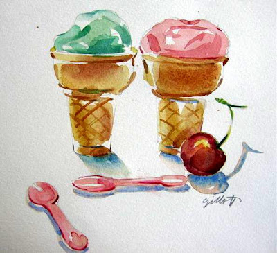 Two ice cream cones and one cherry