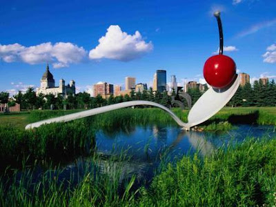 Claes Oldenburg and Coosje van Bruggen's Spoonbridge and Cherry giant sculpture at the Minneapolis Sculpture Garden