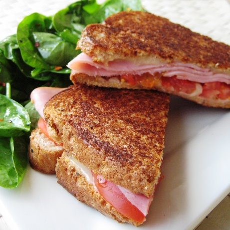 Grilled Cheese, Black Ham &amp; Tomato Sandwich