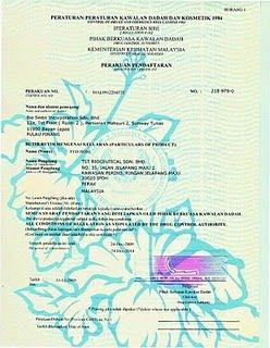 Sijil Kementerian Kesihatan Malaysia