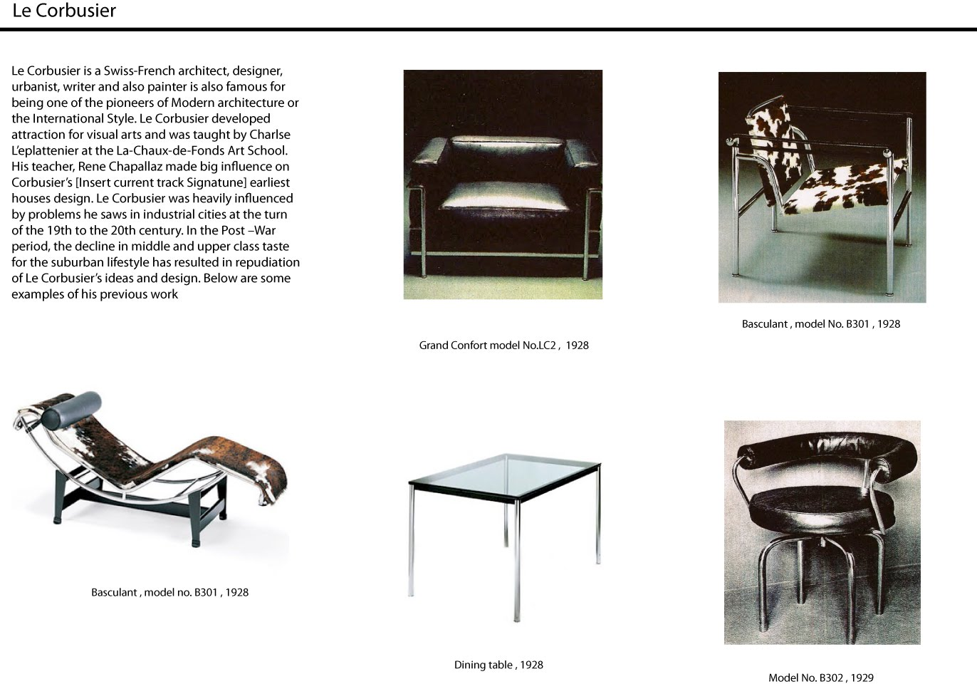 arif furniture design le corbusier. Black Bedroom Furniture Sets. Home Design Ideas