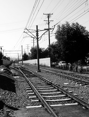 train+tracks+black+and+white+hi+cont+1 On the Right Track  photo