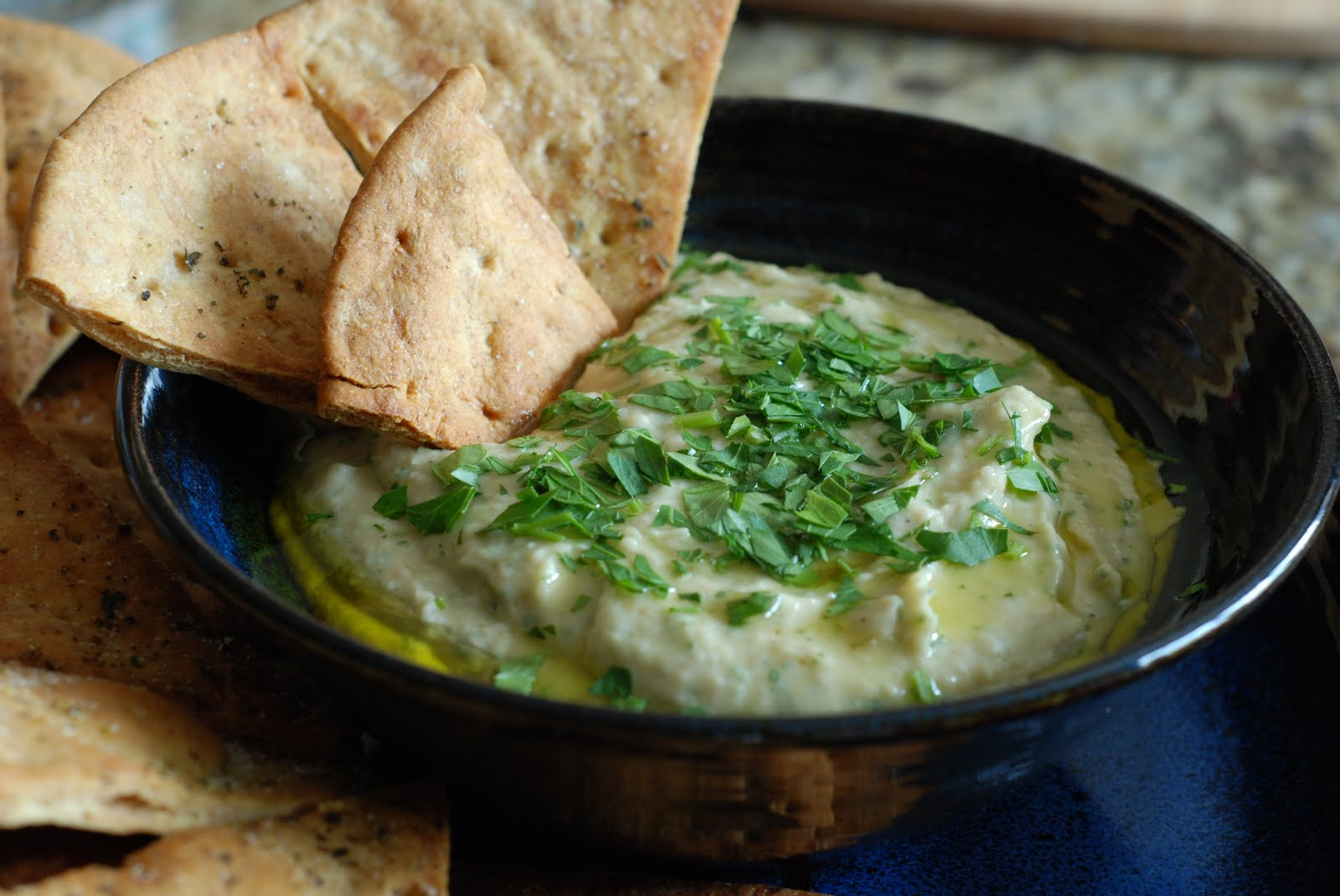 White Bean Dip with Pita Chips - Simply So Good
