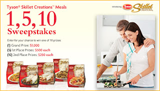 Tyson Skillet Creation Meals 1, 5, 10 Sweepstakes