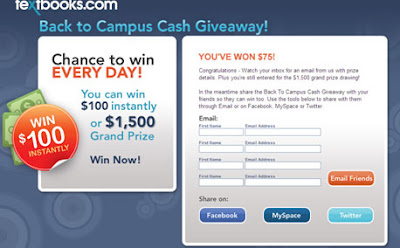 Back to Campus Cash Giveaway Textbook.com winner