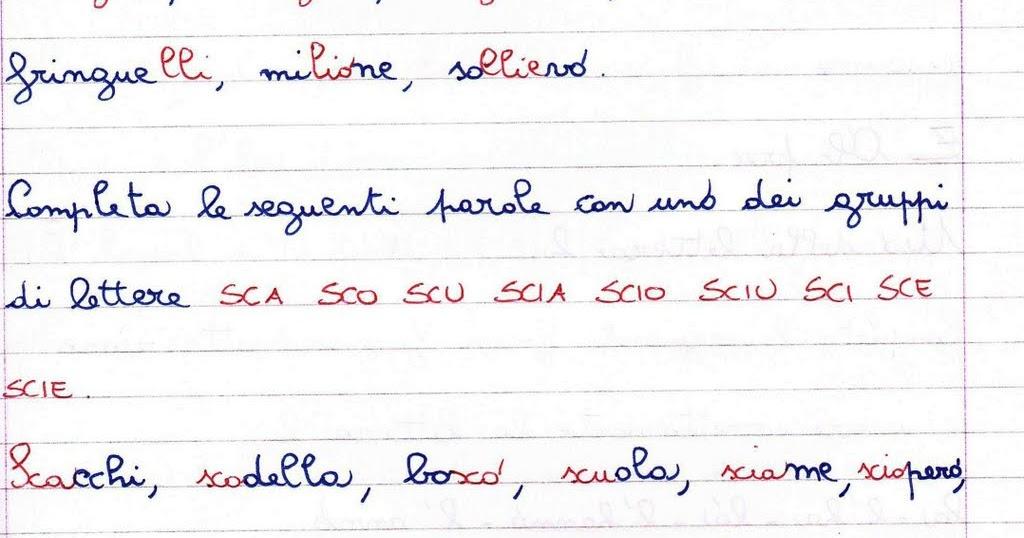 Esercizi di consolidamento delle abilit ortografiche for Parole con sco scu