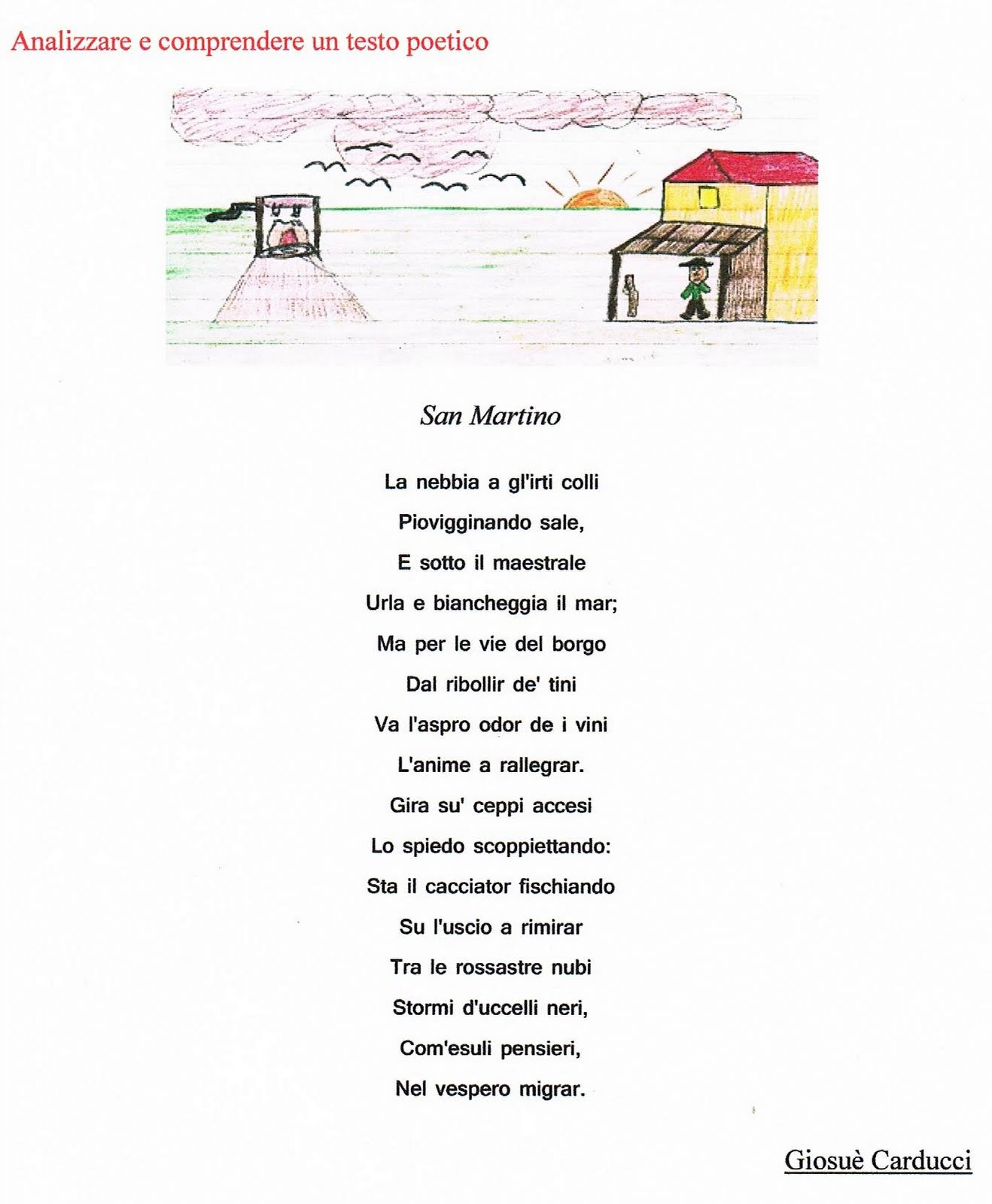"""abbastanza Analizzare e comprendere un testo poetico: """"San Martino"""" di Giosuè  KW89"""