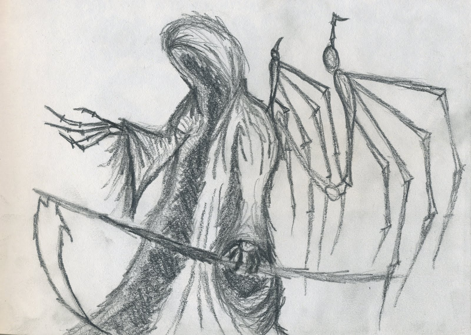 how to draw the angel of death