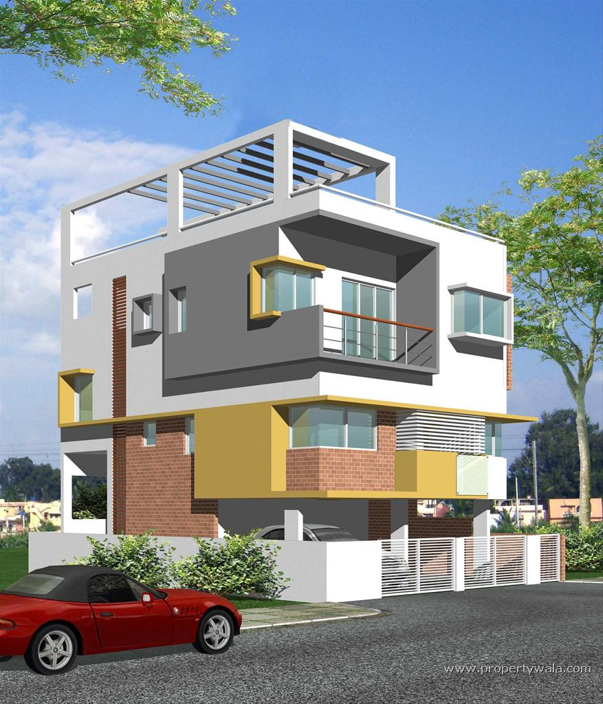Modern front elevation of residential building joy for Modern residential building design