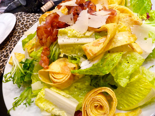 Egg Ribbon Salad with Pancetta & Shaved Parmesan