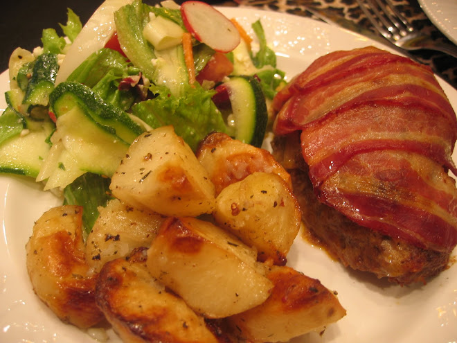 Comfort Food Anyone? Individual Bacon Wrapped Meatloaf with Oven Roasted Potatoes & a fresh salad