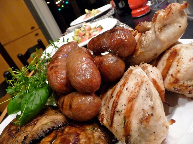 Italian Sausages, Grilled Chicken Breasts, Grilled Portabellos