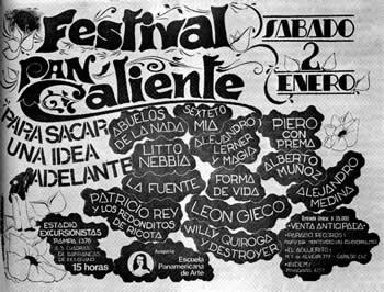 Afiche del Festival Pan Caliente. Enero de 1982