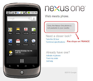 Google Nexus One non disponible en France