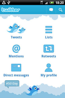 Ecran d'accueil de Twitter pour Android