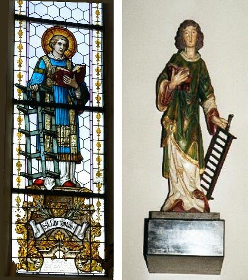Kirchenfenster mit Heiligem St. Laurentius