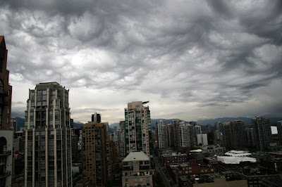 Clouds over downtown Vancouver
