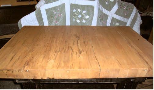 yesterday 39 s gardens primitive black distressed buter block table kitchen island. Black Bedroom Furniture Sets. Home Design Ideas