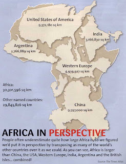 Africa and U.S. Perspective Map