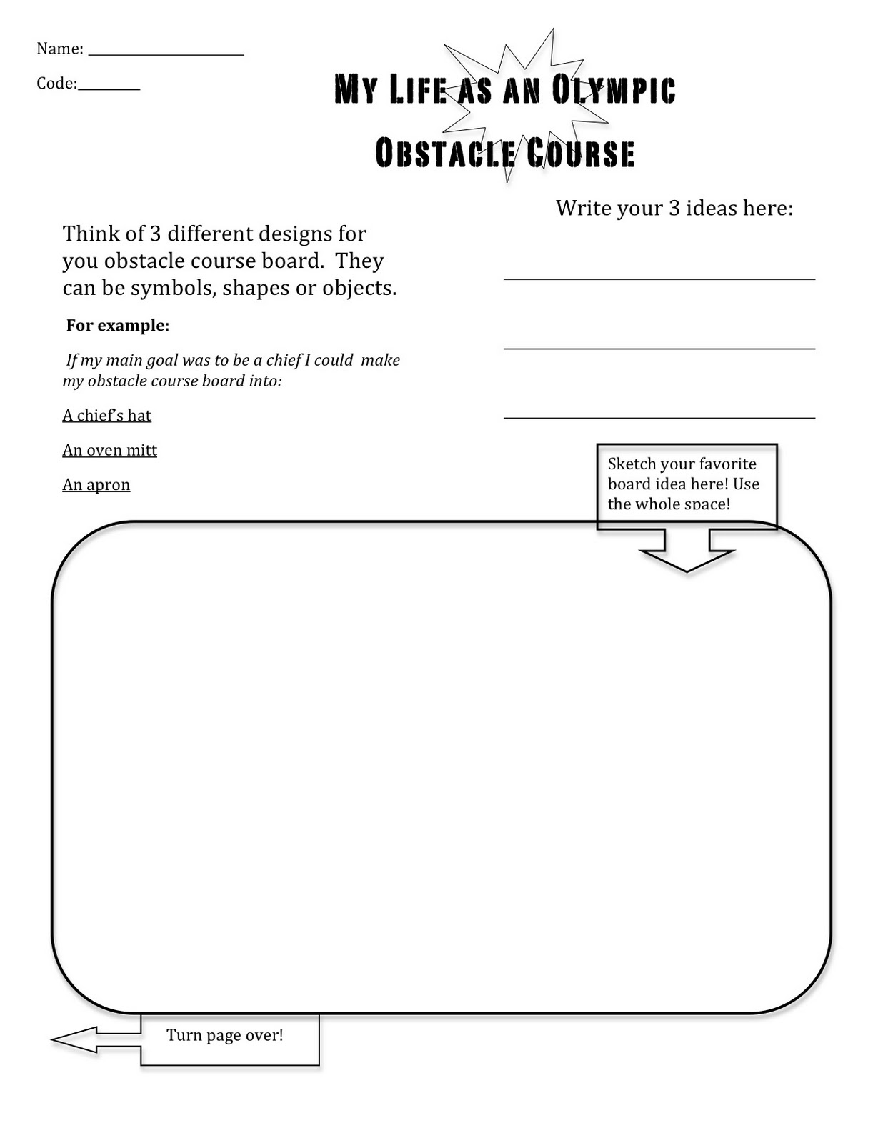 your life as an olympic obstacle course packet for 3rd grade art unit