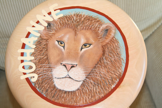Løve malt på krakk