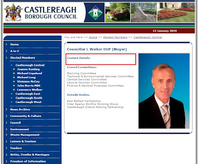 Example of Castlereagh councillor information page - with blank contact information