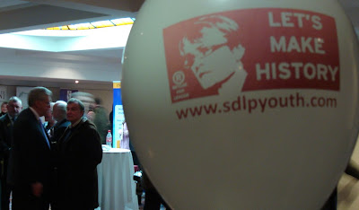 Margaret Ritchie balloon along with Alasdair McDonnell in the background