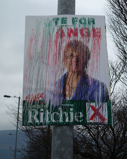 Margaret Ritchie poster in Newcastle - one of many on which the ink ran in the rain!