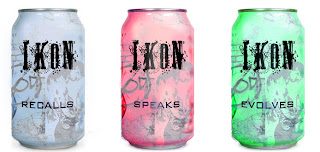 Three cans illustrating the three flavours of Ikon: Evolves, Speaks and Recalls