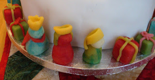 Christmas Cake (decorated with marzipan angels, snowmen, wisemen and presents)